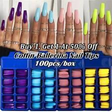 100x Set False Nail Tips Matte Full Cover Long Coffin Fake Nails Art Manicure