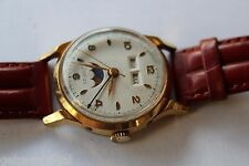 Vintage Zodiac Moonphase Mens Wrist Watch 17 JEWELS Manual Wind Day/Date WORKS!