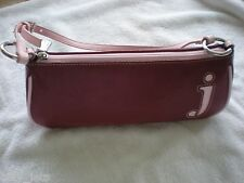 "New York & Co Red with Pink Trim ""J"" Leather Shoulder Handbag ""NEW"""