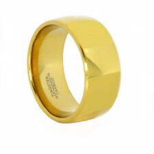 12MM Tungsten Carbide Polished Dome Ring 18K Gold IP Comfort Size 9 13 14 15 16