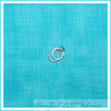 BonEful Fabric FQ Cotton Quilt Aqua Teal VTG Linen Texture Pin Stripe Plaid Tone