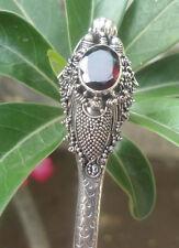 925 Sterling Silver Balinese Dragon Snake Hair Stick With Garnet Cut