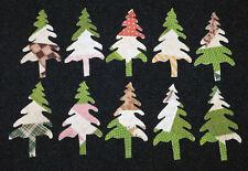 10 PRIMITIVE ANTIQUE CUTTER QUILT TREES!! GREENS/BROWNS!  Scrapbooking! Applique