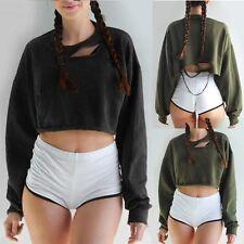 New Womens Crop Sweatshirt Jumper Sweater Batwing Long Sleeve Casual Tops Blouse