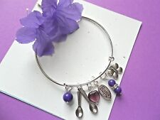 LUPUS/FIBROMYALGIA AWARENESS BANGLE  BRACELET W/SPOONS/BUTTERFLY/HOPE CHARMS