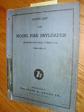 International Hough HAH PARTS MANUAL BOOK CATALOG WHEEL PAYLOADER GUIDE LIST