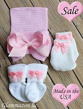 NEWBORN Hospital Pink Striped Beanie Hat Socks and Mittens BABY GIRL Set Of 3