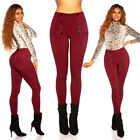 High Waist Skinny Pants Ladies Leggings Treggings With Decor Buttons