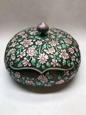 Beautiful Vintage .999 Silver Cloisonne Pink and Green Floral Covered Candy Dish