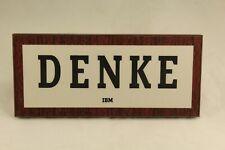 Vintage IBM Pressed Wood THINK Desk Sign or Wall Plaque in German w Original Box