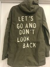 ZARA AUTHENTIC Melania Trump Olive Green Parka Jacket Graffiti, SOLD OUT! RARE!!