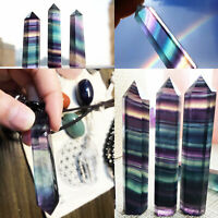 Colorful Natural Fluorite Quartz Crystal Wand Point Healing Stone 50G Gifts