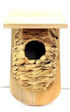 """Decorative Jute Birdhouse w/Wood Roof. Indoor Use Only! 9"""" Tall"""