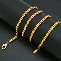 18k Gold F 60cm 24'' Necklace 3mm Solid Twist Wave Woven Rope Chain AUS MADE
