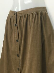 Laura Ashley 14 skirt brown corduroy fit flare buttons casual preppy work school