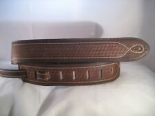 LEATHER BROWN PLAITED EMBOSS STONEWASHED BASS, ACOUSTIC GUITAR STRAP