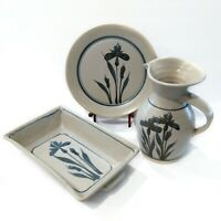 Vintage 90s EMERSON CREEK POTTERY 3pc Blue Iris Handcrafted Pitcher Plate & Dish