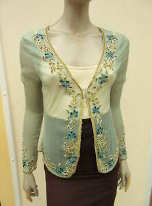 Mandolin - Womens Light Green Bead / Sequin Sheer Chiffon Cardigan - size 14