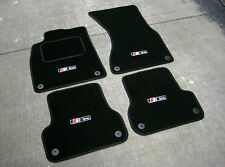 Car Mats in Black - Audi A6 C6 LHD (2004-2011) + S-Line Logos (x4) + Fixings