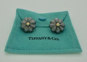 Authentic Vintage Tiffany & Co. Vachey Black Silver 18k Gold Clip Earrings RARE