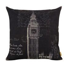 45*45cm Vintage United Kindom London Big Ben Black Home Decoration Cushion Cover