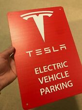 "NEW Tesla Logo Parking Sign EV Electric Car on 8""x12"" Metal Charging Garage Elon"