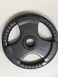 """45 Lb Olympic 2"""" Tri Grip Rubber Coated Iron Weight Plate Barbell  TKO"""