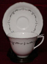 ROYAL WORCESTER china SILVER CHANTILLY pattern Cup & Saucer