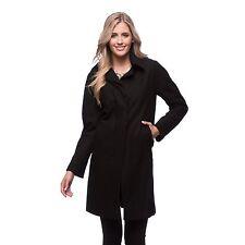 New Ellen Tracy BLACK-Sz 10- Walker-Notch Collar Cashmere Wool Blend Coat Jacket