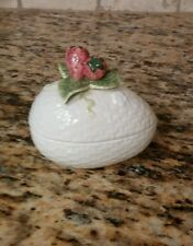 Vintage Fitz and Floyd Two Piece Trinket Box with Strawberries 1982