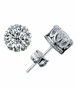 Sterling Sliver 925 8MM Round 2 Carat Cubic Zirconia Stud Earrings