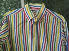 Vintage 1980s Maus & Hoffman Men's Rainbow Stripe Shirt Crisp Cotton