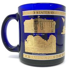 Vintage WASHINGTON DC Blue Glass Gold Detail COFFEE MUG White House Souvenir