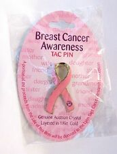 Breast Cancer Awareness Pin Austrian Crystal 18kt Gold Donation