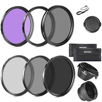 52MM UV CPL FLD ND2 ND4 ND8 Lens Filter Accessory Kit with Lens Hoods Lens Cap