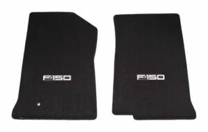 1999 2000 2001 Ford F-150 Truck 2pc Black Front Floor Mats - Silver F150 Logo