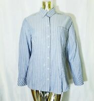 Riders By Lee Mens Blue White Striped Long Sleeve Button Up Shirt Medium