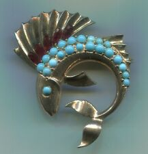 BOUCHER Sailfish Fish Brooch Sterling Vermeil Turquoise Cabochons Red Crystals