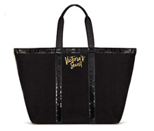 VICTORIA'S SECRET TOTE BLACK CANVAS SEQUINS GOLD LOGO WEEKENDER LARGE BAG NWT