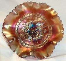 ANTIQUE DUGAN STIPPLED WINDFLOWER AMETHYST CARNIVAL GLASS RUFFLED BOWL - 1910s