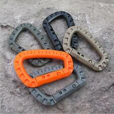 5Pcs D-Ring Key Chain Buckle Snap Plastic Outdoor Carabiner Clip Hook  Camping