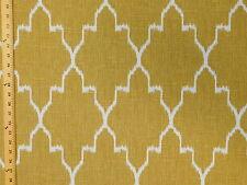 Lacefield Monaco Ikat Straw Large Geometric Lattice Ikat Tan Upholstery Fabric