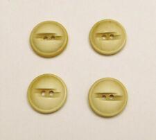"Set 4 Vintage 40s-50s Yellow Buttons 3/4"" Diameter"