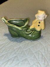 Vintage Green Pixie Elf On Boot Planter Ceramic 4� x 6�