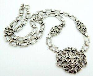 """Antique 1900's Sterling Silver Marcasite Necklace 17"""" Beautifully Detailed Chain"""