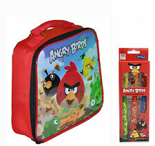 Angry Birds Insulated Lunch Bag Box + 3pk Toothbrushes Red Black Yellow Pigs NEW