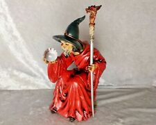 Myths & Legends WUI 1996 gothic Resin Figurine-Wizard with Staff + Crystal Ball