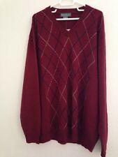 New Bassiel Cresnieux Men's Merino Wool V-Neck Sweater - Size XL