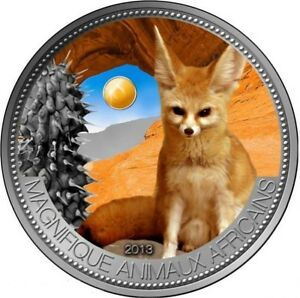 FENNEC  1000 francs Niger 2013 1oz silver 999 and jade