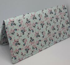 Teal Calico Print Fabric Checkbook Cover Document Coupon Holder Handmade Ready